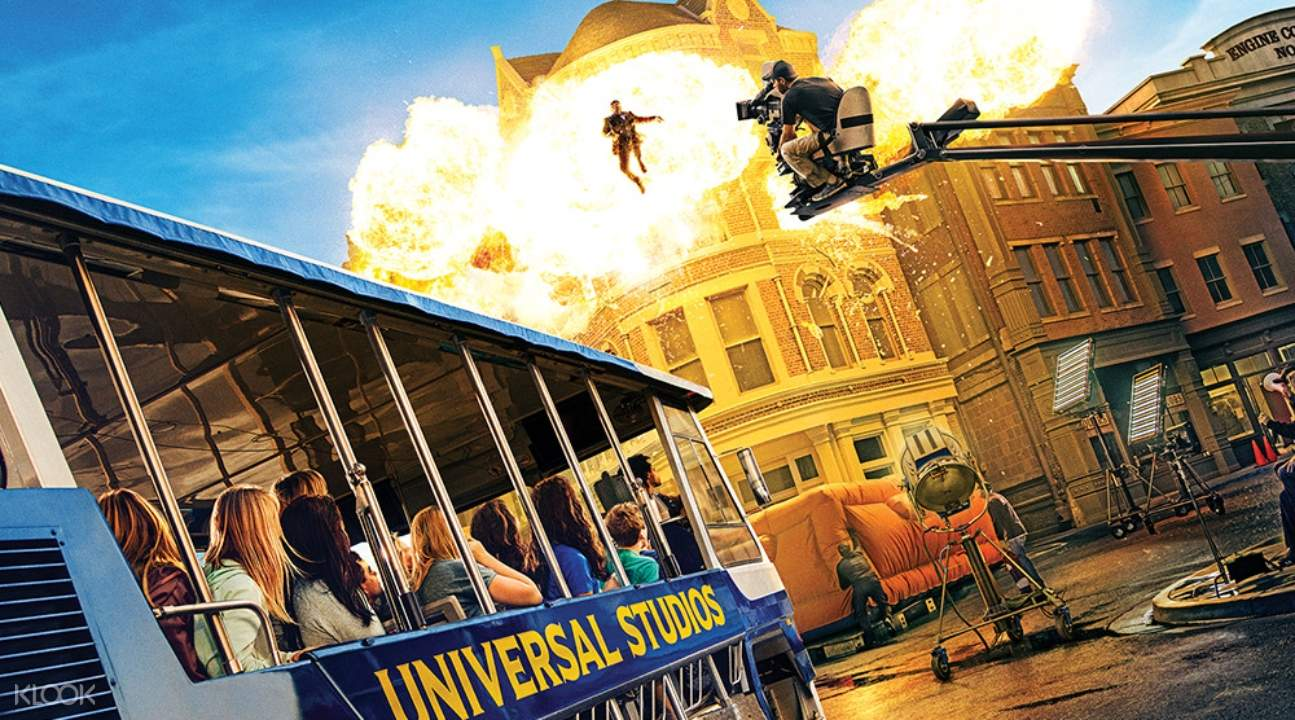a movie set in Universal Studios Hollywood with an explosion